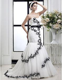Vestido de Noiva - Marfim Fit & Flare Coração Cauda Corte Tule Tamanhos Grandes – BRL R$ 533,36