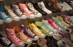 Someday, I would like to walk to every store that sells these shoes, and buy every pair of Chuck Taylor All Star Converse Converse Store, Converse All Star, Converse Chucks, Converse Chuck Taylor, Rainbow Converse, Colored Converse, Cheap Converse, Converse Fashion, Purple Converse