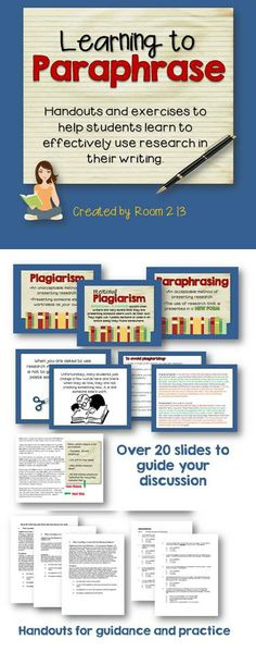 Teach your students to paraphrase, not plagiarize!
