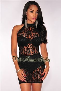 538d1e1871 Black Floral Lace Panty Lined Dress. Hot Miami Styles ...