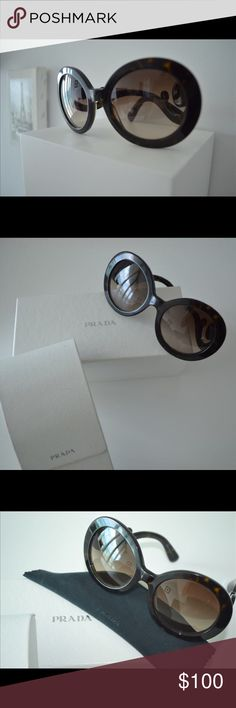 💯 PRADA Baroque Brown Tortoise Authentic Prada. Comes with Prada case, soft cleaning pouch and paper work from the company.  In good condition still please view images carefully. The lenses have scratches please see the 2 last pictures. Prada Accessories Sunglasses