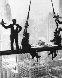 New York Steelworkers take a lunch break, 1930.
