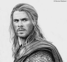 My second pencil drawing of Thor (Chris Hemsworth in Thor The Dark World). I don't know why but it was not fun to draw this portrait. Pencil Art Drawings, Cartoon Drawings, Art Sketches, Marvel Avengers, Marvel Art, Thor Drawing, Avengers Drawings, Foto Transfer, Marvel Characters