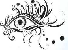 My drawing on etsy, its an eye with perfect eyelashes and thick eyeliner and plenty of pretty dots!