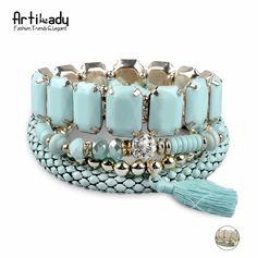 Aliexpress.com: Compre Artilady acrílico contas borla pulseira pulseiras da moda azul da cor verde multicolor pulseira para as mulheres jóias presente do partido de confiança pulseira trecho talão fornecedores em ArtiLady Jewelry (Stylish Designer Brand)