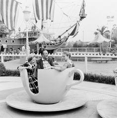 Walt Disney with his wife Lillian and daughter Diane in Disneyland c. 1955