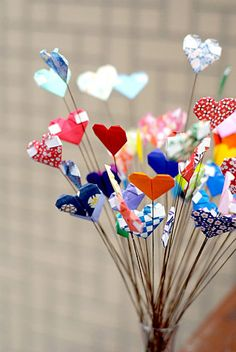 Hearts made of origami
