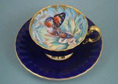 Vintage-Aynsley-Bone-China-Butterfly-Cup-Saucer-Cobalt-Blue-Mum-Petals