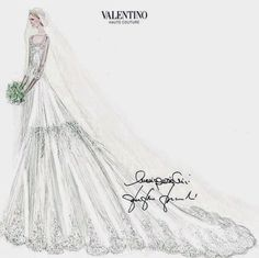 Hello!-Sketch of the wedding dress of Elisabetta Maria Rosboch von Wolkenstein for her marriage to Prince Amedeo of Belgium, Archduke of Austria Este in 2014, designed by Valentino; the classic full-skirted creation featured a sweetheart neckline with a diaphanous overlay and sleeves, making it perfect for a traditional church ceremony.   Photo: Maison Valentino