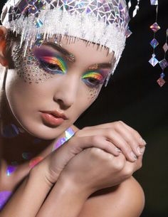 maquillage en arc en ciel