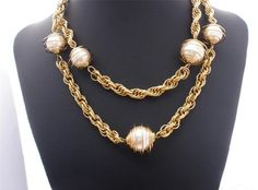 """Very Cool 38"""" Long Large Wire Wrapped Pearl Bead Gold Tone Estate Necklace 