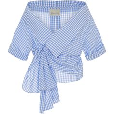Johanna Ortiz Cotton Gingham Daffodil Wrap Top ($465) ❤ liked on Polyvore featuring tops, blue top, short sleeve tops, blue checked shirt, short sleeve cotton shirts and short sleeve shirts