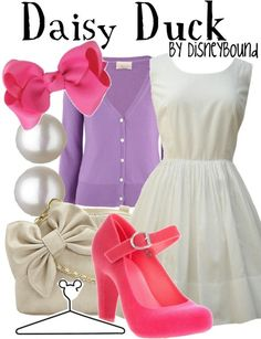 I've always ♥d the uber feminine color scheme of Daisy Duck ~ white, pink, and purple ~ and this classic outfit brings it all together perfectly!! ♥