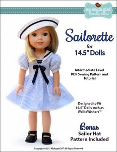 My Angie Girl Sailorette Doll Clothes Pattern 14.5 inch WellieWishers Dolls | Pixie Faire
