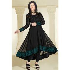 Georgette Thread & Border Work Black Semi Stitched Aline Suit - 9041