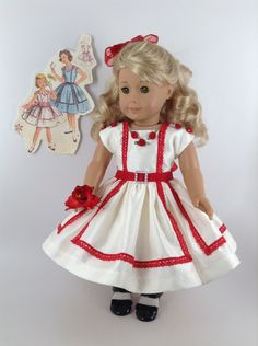 American Girl 18-inch Doll Clothes - 1950's Party Dress in Cream/Red, Petticoat, & Hair Bow by HFDollBoutique on Etsy https://www.etsy.com/listing/467577900/american-girl-18-inch-doll-clothes-1950s