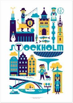 Poster for Stockholm City Poster, Voyage Suede, Visit Stockholm, Stockholm Sweden, Stockholm Travel, Stockholm City, Lagom Design, Travel Illustration, Flat Illustration