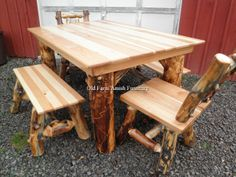 Aspen Log Table Set (Benches & Chairs) Old Farm Amish Furniture - Dayton, PA  16222  (814) 257-8911