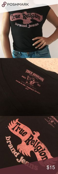 Black true religion shirt Black True Religion shirt with pink writing and rhinestones True Religion Tops Tees - Short Sleeve