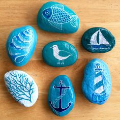 Your place to buy and sell all things handmade Beach Themes, Painted Rocks, Beach House, Envelope, Ink, Crafts, Painting, Etsy, Ideas