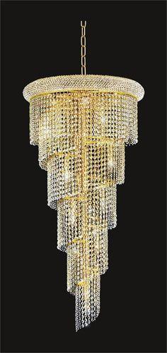 Spiral Design 18-Light 48'' Gold or Chrome Chandelier with European or Swarovski Crystals SKU# 10144