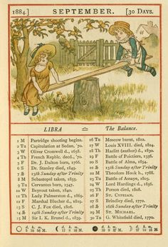 September - Kate Greenaway's Almanack for 1884