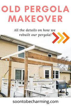 Enjoy this old pergola makeover! DIY pergola makeover is the perfect summer project to tackle. Get inspiration for pergola makeover ideas and more! These pergola ideas are perfect for a backyard makeover or for other pergola patio makeover ideas. Great covered pergola makeover ideas as well! #soontobecharming #pergolamakeover #oldpergolamakeover #diyprojects #backyardmakeover #coveredpergolaideas Pergola Patio, Pergola Ideas, Backyard Makeover, Covered Pergola, Diy On A Budget, Diy Kitchen, Easy Diy, Home Improvement, Diy Projects