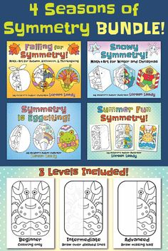 Practice symmetry for Fall, Winter, Spring, and Summer with this discounted bundle of popular math resources. Reinforce concepts of halves and wholes; line of symmetry; equality and matching; reflection or mirror image; congruence; observing details. There are three ability levels for differentiation included: color only; trace and color; draw and color. #mathisfun #mathcenters #linesymmetry #4thgrade #3rdgrade #symmetry