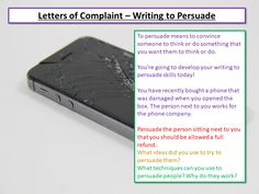 Letters of Complaint - Writing to Persuade Persuasive Writing Techniques, Aqa English Language, Persuasive Letter, Teaching Resources, Classroom Ideas, Something To Do, Student, Letters, How To Plan