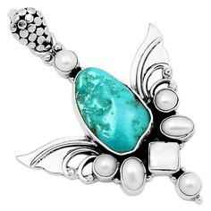 Sacred Angel Wings Blue Turquoise 925 Sterling Silver Pendant Jewelry 6811P