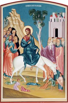 Entry into Jerusalem / Palm Sunday Byzantine Icons, Byzantine Art, Religious Icons, Religious Art, Jerusalem, Hosanna In The Highest, Juan Pablo Ll, Jesus Painting, Life Of Christ
