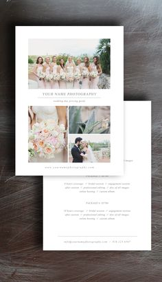 Free Photographer Pricing Guide Template For Wedding Photographers