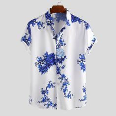 ChArmkpR Mens Chinese Style Porcelain Floral Printed Short Sleeve Turn Down Collar Casual Loose Shirt Best Online - NewChic Mobile Loose Shirts, Printed Shirts, Men's Fashion, Ethnic Fashion, Camisa Lisa, Chinese Style, Pull, Casual Shirts, Men Shirts