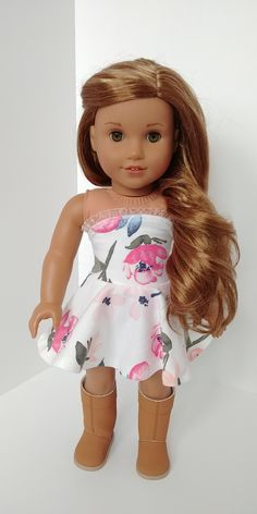 Excited to share the latest addition to my #etsy shop: Dress. American girl clothes. 18 inch doll clothing.Cream and pink floral strapless dress #toys #dollclothes #dresses #pink #americangirl #white #dress #cotton https://etsy.me/2G658fY