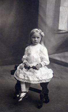 +~+~ Antique Photograph ~+~+ Pensive little girl in white.