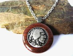 Wooden Pendant Necklace Eco Friendly Repurposed by Hendywood, $25.00