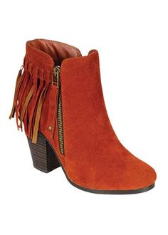 Hit the plains in these earthy, desert-toned booties! Featuring a so-now fringe trim at back, stacked faux wood block heel, and side zip closure. Solid faux suede upper. Cushioned insole.COLORS BlackTanCoralGreyBeigeBrownThese booties run true to size.