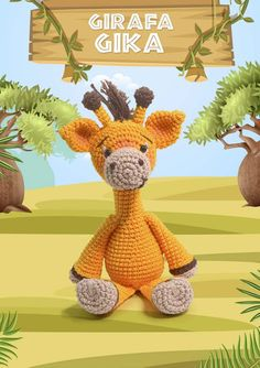 Bichinhos Amigurumi Receita PDF - Como Fazer Safari, Eco Friendly Toys, Crochet Animals, Handmade Toys, Plushies, Pet Toys, Tweety, Funny Animals, Dinosaur Stuffed Animal