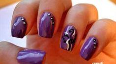 Purple abstract nails - Nail Art Tutorial, via YouTube.