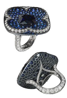 Bayco Clover ring with sapphires and diamonds