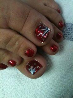 Firework Blast by nailtechtish - Nail Art Gallery nailartgallery. by Nails Magazine www. Pretty Toe Nails, Cute Toe Nails, Fancy Nails, Gel Nails, Toenails, Nail Art Rhinestones, Rhinestone Nails, Pedicure Nail Art, Toe Nail Art