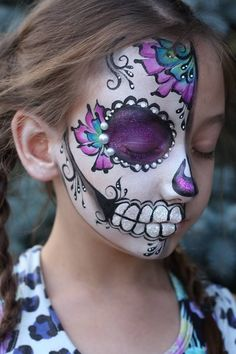 Nadine & # s Dreams Face Painting - Photo Gallery . - halloween make up - Halloween Makeup Sugar Skull, Sugar Skull Costume, Sugar Skull Makeup, Halloween Makeup Looks, Halloween Skull, Halloween Make Up, Skeleton Makeup, Vintage Halloween, Facepaint Halloween