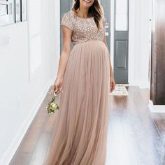 Maternity Maxi Tulle Dress With Tonal Delicate Sequins - Dresses - Babykleidung Plus Size Maternity Dresses, Maternity Bridesmaid Dresses, Maternity Dresses For Baby Shower, Spring Maternity, Maternity Gowns, Maternity Fashion, Baby Dress, Pregnancy Dress, Bridesmaid Ideas