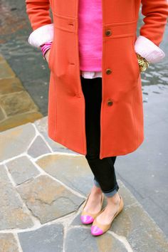 What better way to welcome spring but with a bright colorful coat right? Think spring forward, think tangerine, the IT spring color. Ever since I saw this coat, I fell in love with it. Stella Dot, Fall Outfits, Cute Outfits, Fashion Outfits, Ladies Day, Chanel, Forever21, Preppy Style, My Style