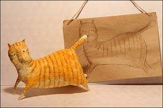 Елочная игрушка мартовский кот. Мастер-класс. Игрушка из ваты.
