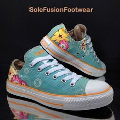 acbf9446e121 Converse Womens All Star Floral Trainers size 5 Turquoise VTG Sneakers US 7