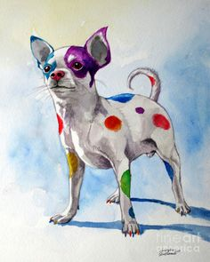 Colorful Dalmatian Chihuahua Painting  - Colorful Dalmatian Chihuahua Fine Art Print