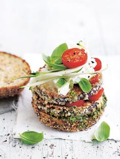 With fresh mozzarella, crispy eggplant and pesto, this burger is a quick and easy mid-week meal.
