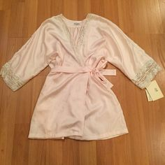 Vintage Lily of France robe Vintage robe. Light pink with lace. Brand is Lily of France. Polyester. Size large. Lily of France Intimates & Sleepwear Robes