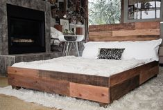 Custom Reclaimed Barn Wood Platform Industrial Bed - Hammers and Heels - 1 Furniture, Industrial Platform Beds, Industrial Bed, Home, Reclaimed Furniture, Reclaimed Wood Beds, Bed, Diy Pallet Bed, Bed Frame